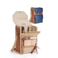 Picnic Time Corsica - Natural Canvas Willow Wine Basket