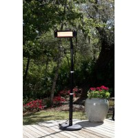 Fire Sense Black Steel Telescoping Offset Pole Mounted Infrared Patio Heater w/ Glass Front