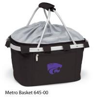 Kansas State Embroidered Metro Basket Picnic Basket Black