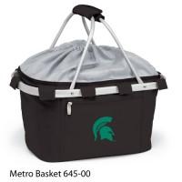 Michigan State Embroidered Metro Basket Picnic Basket Black