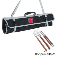 North Carolina State Printed 3 Piece BBQ Tote BBQ set Black