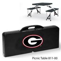 University of Georgia Printed Picnic Table Black