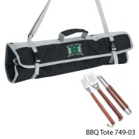 Hawaii University Printed 3 Piece BBQ Tote BBQ set Black