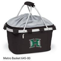 Hawaii University Printed Metro Basket Picnic Basket Black