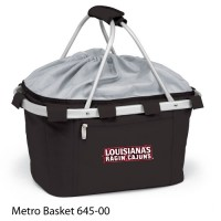 Louisiana University Lafayette Embroidered Metro Basket Picnic Basket Black