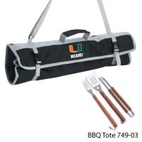 University of Miami Printed 3 Piece BBQ Tote BBQ set Black