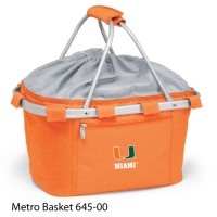 University of Miami Embroidered Metro Basket Picnic Basket Orange
