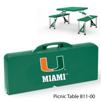 University of Miami Printed Picnic Table Hunter Green