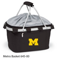 University of Michigan Embroidered Metro Basket Picnic Basket Black