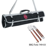 University of Oklahoma Printed 3 Piece BBQ Tote BBQ set Black