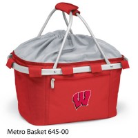 University of Wisconsin Embroidered Metro Basket Picnic Basket Red