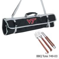 Virginia Tech Printed 3 Piece BBQ Tote BBQ set Black