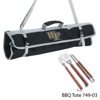 Wake Forest University Printed 3 Piece BBQ Tote BBQ set Black