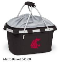 Washington State Embroidered Metro Basket Picnic Basket Black