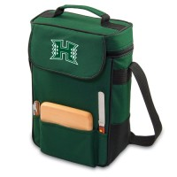 University of Hawaii Duet Wine Tote - Hunter Green Embroidered
