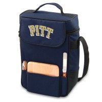 University of Pittsburgh Duet Wine Tote - Navy Embroidered