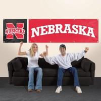 BNEB Nebraska Giant 8-Foot X 2-Foot Nylon Banner
