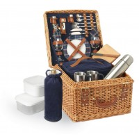 Picnic Time Canterbury - English Style Willow Deluxe Basket Navy