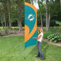TTMD Dolphins Tall Team Flag with pole