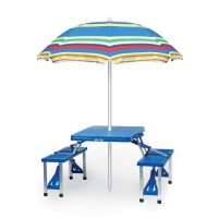 Picnic Time Folding Table Blue