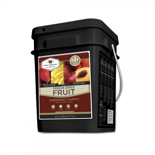 Wise Foods Gluten Free Freeze Dried Fruit has 152 assorted delicious fruits in a bucket for emergency preparedness or every day snacking