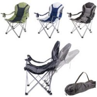Picnic Time Reclining Camp Chair - Navy and Silver Gray
