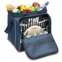Picnic Time Verdugo Picnic Tote for 4 - Navy