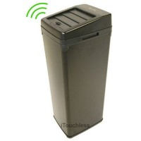 iTouchless 14 Gallon Black Steel Automatic Sensor Touchless Trash Can with Space Saving Lid