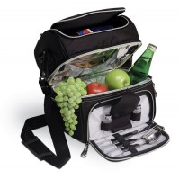 Picnic Time Pranzo-Black w/Silver Lunch Pack
