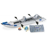 Sea Eagle 435PS 14ft Inflatable Catamaran Kayak Deluxe Package Includes Inflatable Seats Oars and Air Pump