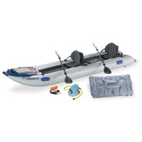 Sea Eagle 435PS 14ft Inflatable Catamaran Kayak Pro Package Includes Tall Back Seats Oars and Air Pump
