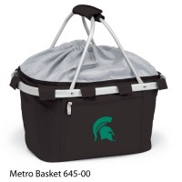 Michigan State Embroidered Metro Basket Picnic Basket Black