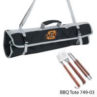 Oklahoma State Printed 3 Piece BBQ Tote BBQ set Black