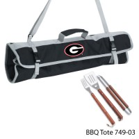 University of Georgia Printed 3 Piece BBQ Tote BBQ set Black