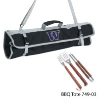 University of Washington Printed 3 Piece BBQ Tote BBQ set Black