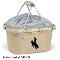 University of Wyoming Embroidered Metro Basket Picnic Basket Beige