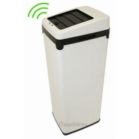 iTouchless 14 Gallon White Steel Automatic Sensor Touchless Trash Can with Space Saving Lid