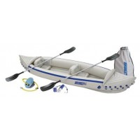 Sea Eagle 370 12ft 6in Inflatable Kayak Deluxe Package Includes Paddles Seats and Air Pump Capacity 3 Persons