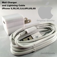 Lightning Cable and Wall Charger ~ iPhone 5,5S,5C,6,6PLUS,6S