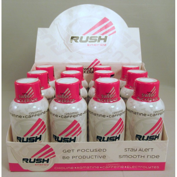 Rhino Rush Energy Drink - Sweet Puckerade Flavor - Stay Alert / Be Productave (12) NEW!